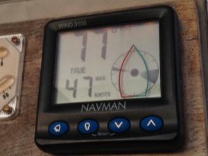 Das Anemometer zeigt 47 Knoten - Sturmstärke